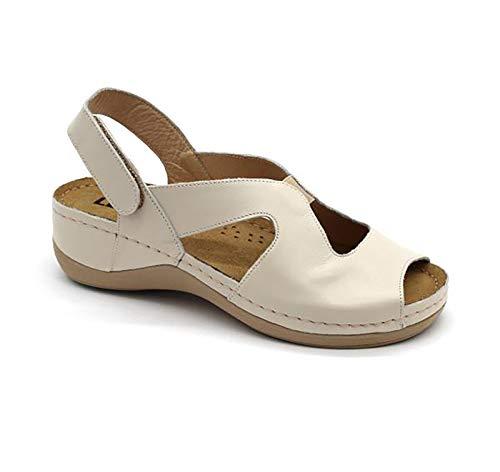 LEON 924 Sandalias Zuecos Zapatos Zapatillas de Cuero para Mujer