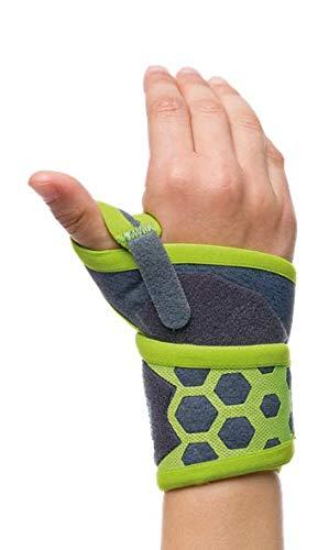 My Prim Kids | Handgelenkbandage für Kinder | Arthritis, verletzte und schwache Handgelenke, Verstauchungen, Zerrungen | Atmungsaktiv latexfrei | beidseitig, Grau und Grün | Freiheit Talla 2: 12-15 cm