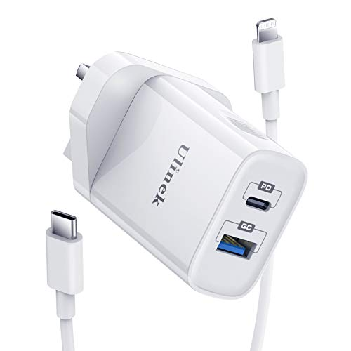 Ulinek 20W iPhone Fast Charger Plug 2 Ports USB C & A With 2m MFi USB C to Lightning Cable Quick Charge 3.0 Wall Charger Adapter Compatible with iPhone 11 12 Pro XR X XS 8 Plus 7 6s iPad Pro
