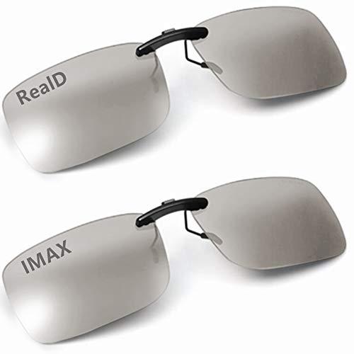 Beste Lösung,ultraklare und ultrahelle 2 Paar 3D-Brille Clip Aufsatz Clip on Polarisationsbrille RealD und IMAX für Erwachsene