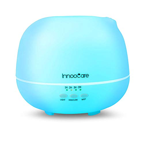 Diffusore di Aromi 500ml InnooCare Diffusore a Ultrasuoni Aromaterapia Terapie Diffusore di Oli Essenziali Umidificatore LED 7 Colori Autospegnimento Timer per Ufficio, Yoga, Spa, ECC.