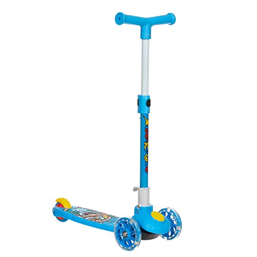 NHR Smart Kick Scooter, 3 Adjustable Height, Foldable,Front Wheel Light & PVC Wheels for 3 to 8 Years Kids (Blue)