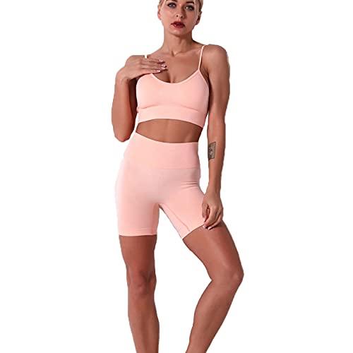 LanreyTaley Mujer Fashion Bodycon Sin Mangas Tank Top Spaghetti Strap Dos Piezas Pantalones Cortos Jumpsuit Conjunto de yogas Clubwear 9186Orange-S
