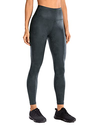 CRZ YOGA Women's Faux Leather Workout Leggings 25'' / 28'' - Stretchy Yoga Pants Lightweight High Waisted Tights Coast Gray XX-Small