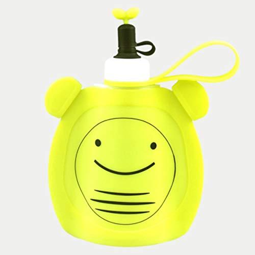 QYWJ Botellas de Agua de Silicona Plegables, hervidor de Dibujos Animados Lindo con Correa, Bolsa de Agua Reutilizable para familias/Camping/picnics/Turismo, 350ml