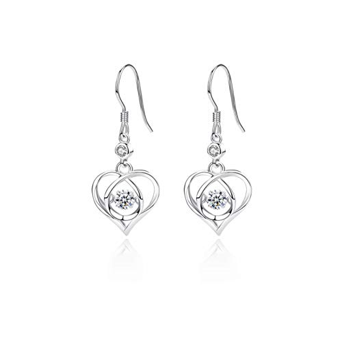 Elibeauty Heart Shape Leverback Earrings, 925 Sterling Silver Tree of Life Drop Dangling Earrings for Women(SILVER)