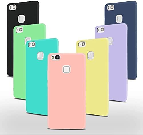 JOSMA 6 x Funda para Huawei P9 Lite Ultra Fina Soft TPU Silicone Carcasa 360 Grados Antigolpes Anticaída Arañazos(Negro, Azul Oscuro, Rojo,Verde, Rosa, Transparente)