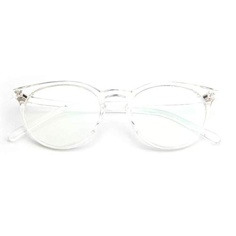 消毒剤スチュワード覆す小さな新鮮な米ネイルフレームレンズレトロ古風な円形フレームファッションフレーム男性用近視眼鏡女性-透明な白
