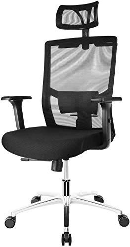 FIXKIT Bürostuhl, Ergonomisch Schreibtischstuhl, Mesh Computerstuhl mit Einstellbare Kopfstütze Armlehnen, Höhenverstellung und Wippfunktion, Tragkraft bis 150kg (Schwarz)