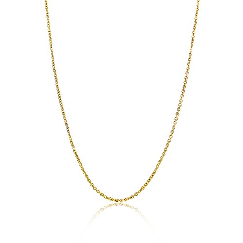 Orovi Damen Ankerkette Halskette 14 Karat (585) GelbGold Anker rund Kette Goldkette 1,1 mm breit 45cm lange