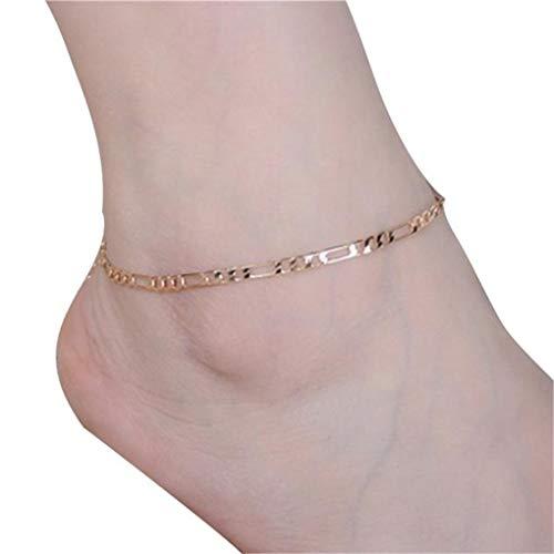 Dorical Damen Fußkettchen Edelstahl Fußkette Anhänger Sommer Strand FußSchmuck für Frauen Mädchen Ketten Einfach Schick Schmuck(Gold)