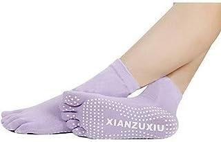 Mujeres Antideslizantes Calcetines de Cinco Dedos Yoga Gimnasia Deporte Ejercicio Masaje Fitness Calcetines Calientes Violeta Claro