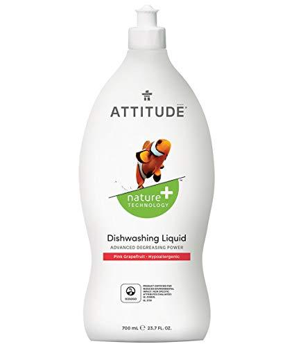 ATTITUDE Liquid Dish Soap, Non-toxic, Advanced Degreasing Power, ECOLOGO Certified, Pink Grapefruit, 23.7 Fluid Ounce