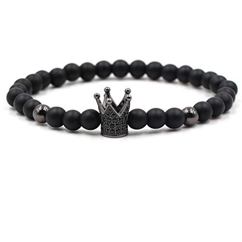 DMUEZW Fashion Trendy Zwart Kristal Metaal Kroon Bedels Stone Beaded Armband Vrouw Mannen Elastische Hematiet Scrub Stone Armbanden Mannen