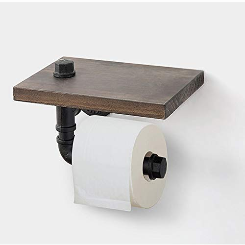 Industriële buis toiletpapier houder met plank, muur gemonteerde wc-rolstandaard rustieke houten plank Tissue Roll Hanger voor badkamer wasruimte, 25×18×13 cm