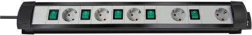 Brennenstuhl 1156050077 Premium-Line Technik 5-fach 3 m H05VV-F 3G1,5 einzeln schaltbare Steckdosen mit spezieller Steckdosenanordnung, schwarz/lichtgrau