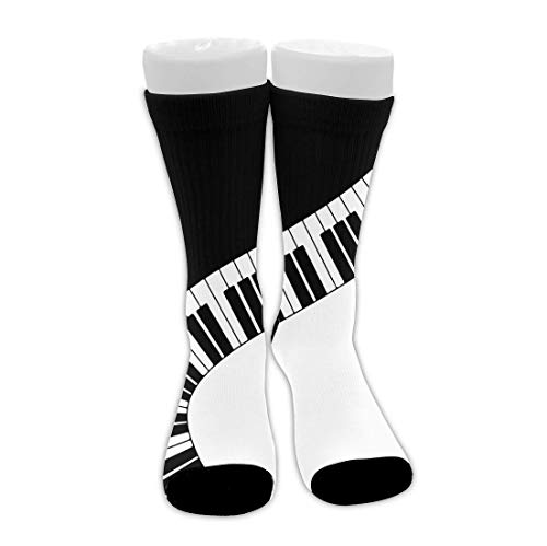 Piano Keys Calcetines de vestir novedosos unisex Calcetines de tripulación divertidos Calcetines de compresión a media pierna Calcetines de senderismo de viaje novedosos, tobilleras suaves y