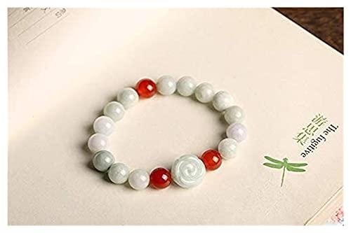 DJDEFK Pulsera de Cuentas Feng Shui Amuleto Pulsera Natural FEI-Cui Jade Pixiu Rose Agate Beads Ornament Stretch Bangle Curación Chakra Gemstone San Valentín Talismán para Hombres Mujeres, Pixiu