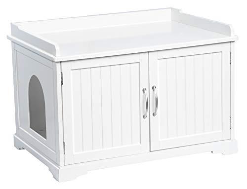 UPP Katzenschrank XXL I Katzenhöhle/Hundebett, Katzenklo & Schrank kombiniert I für drinnen/Indoor I Premium Haustier Zubehör diskret aufbewahren I Massiv gefertigt aus FSC Holz I weiß