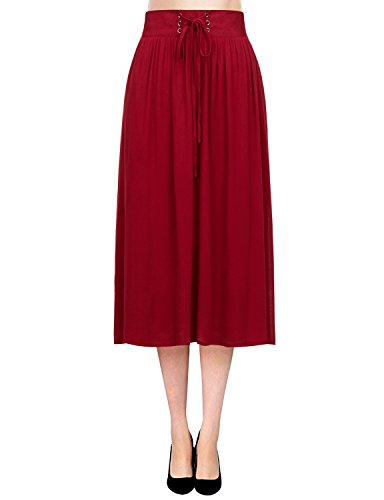 Regna X Boho for Women's Flowy Solid Color Textured Wine 3XL Plus Maternity Tall Chiffon midi Knee Length Skirt Dress