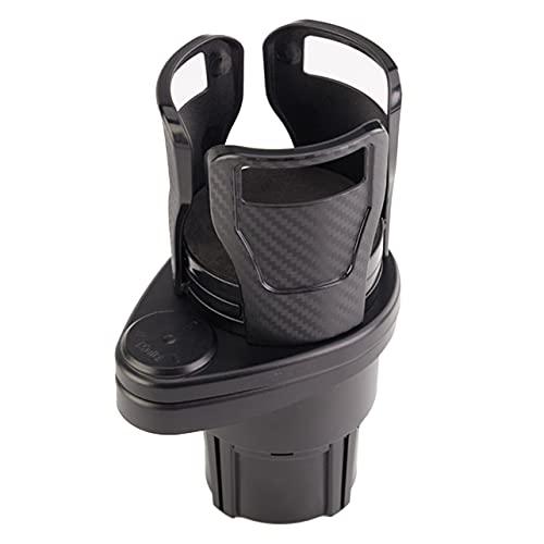 Estante de Dos Capas de un Punto Portavasos de té Accesorios para el automóvil Portavasos para Bebidas Soporte de Montaje en Consola Llaves Organizador de Monedas - Negro carbón