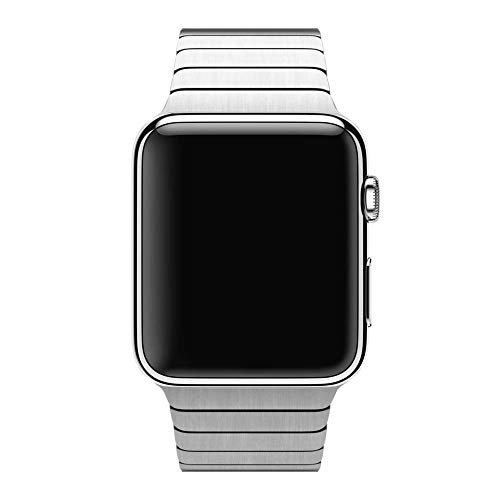 Smartwatch Band Stainless Steel Compatible for Apple Watch Series 3/2/1 (42mm) Serie 5/4(44mm) Butterfly Clasp Business (Silver)