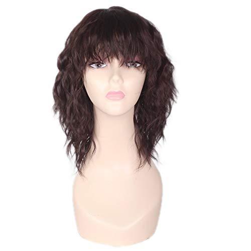 Peluca femenina de maíz pelo corto pequeña ola caliente rizada peluca flequillo fino pelo corto y rizado Daily pelucas (Color : Brown)
