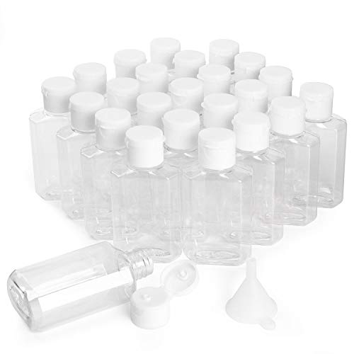 HULISEN 24 Pack 2 oz Clear Empty Hand Sanitizer Bottles, Travel Containers with Flip Cap - Refillable Containers, for Hand Sanitizer, Baby Shower [Not Intended for High Viscosity Liquids]
