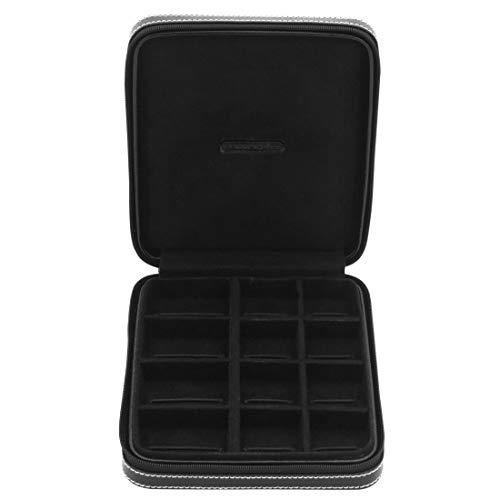 Friedrich23 Schmuckkoffer – Manschetten-/Schmuckkasten London aus Leder in schwarz – Fixier-Schlaufen und Reisverschluss