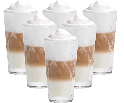 6er Set Latte Macchiato / Kaffee-Gläser - 370ml, 6 Glas Trinkhalme 23 cm, 1 Bürste ( Kaleibi Latte )
