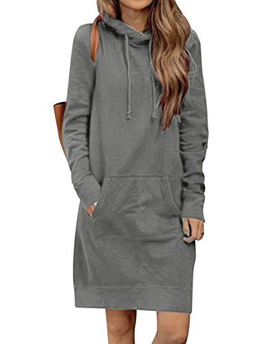 Kidsform Damen Herbst Hoodies Lang Kapuzenpullover Damen Long Sweatshirt Oversize Pulloverkleid Damen Winter DunkelGrey M