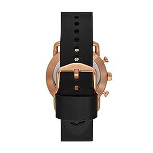 Fossil Men's Commuter Stainless Steel Leather Hybrid Smartwatch Rose Gold Black (Model: FTW1176)
