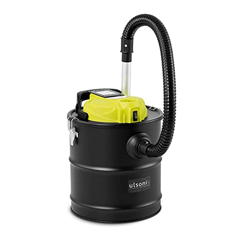 Ulsonix Bidone Aspiracenere Pellet Aspiratore per Stufa Professionale ASHCLEAN 20B_18V (120 W, IPX0, 20 L, Filtro HEPA)