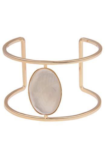 Leslii Damen-Armband XXL-Armreif Oval Perlmutt-Look breites Armband Armschmuck goldenes Modeschmuck-Armband Armspange Gold Weiß