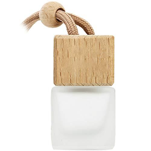Kuashidai Botella vacía de perfume para colgar el coche, 8 ml, difusor de fragancia recargable para coche (vidrio + madera)