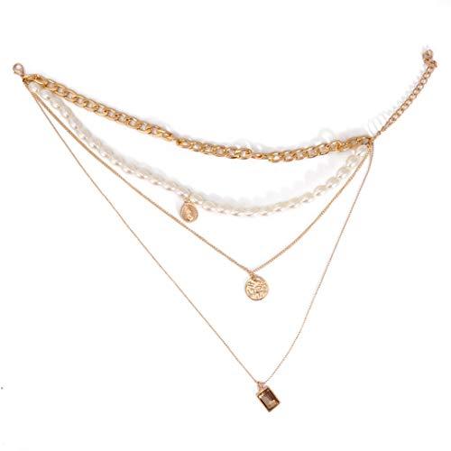 Weryffe Mehrschichtige Halskette Perlenkette Strassmünze Anhänger Dicke Kette Boho für Mädchen und Frauen
