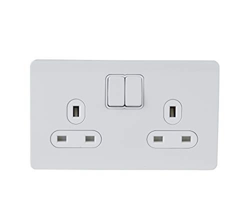 Schneider Electric Ultimate–Placa con Interruptor (13A, doble enchufe pintado de color blanco color blanco