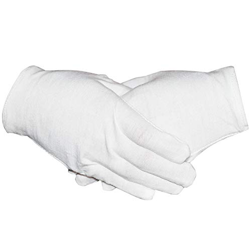 Paxcoo 6 Pairs White Cotton Gloves for Cosmetic Moisturizing Coin Jewelry Inspection Hand Spa – Medium Size