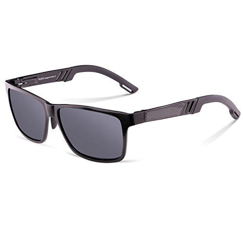 DUCO Rechteckig Sonnenbrille Herren Brille mit Federscharnier, Metallrahmen 2217 (Gestell: Schwarz, Gläser: Grau)