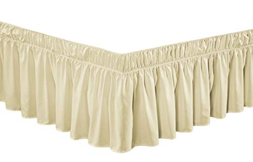 Wrap Around 30' inch Long Fall Ivory Ruffled Platform Elastic Solid Bed Skirt Fits All Queen, King and Cal King Size Bedding High Thread Count Microfiber Dust Ruffle, Soft & Wrinkle Free.