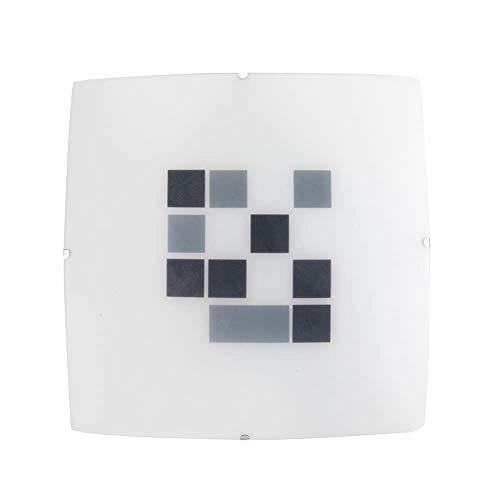 ONLI vierkante plafondlamp in wit satijnen glas met geometrisch patroon zwart en grijs