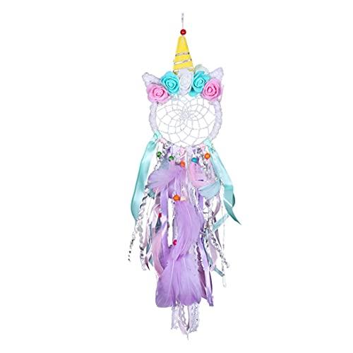 Koonafy Unicornio Atrapasueños,Dream Catcher con Plumas y Flores,Nice Dream Atrapa Sueños para Niños,Decoración Pared Colgante,Romántica Manualidades Pared Dormitorio (Purple)