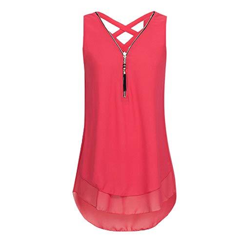 VEMOW Tops Mujeres Sueltan Las Flores Gasa sin Mangas con Cuello en V Cremallera Dobladillo Scoop Camisetas Tops Camisola (B Rojo,S)