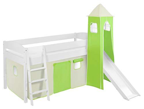 Lilokids Spielbett IDA 4105 Grün Beige-Teilbares Systemhochbett weiß-mit Turm, Rutsche und Vorhang Kinderbett, Holz, 208 x 220 x 185 cm