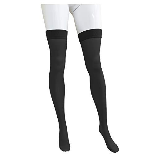 NuVein Medical Compression Stockings, 15-20 mmHg Support, Women & Men Thigh Length Hose, Closed Toe - Medium - Black (NV4374BL-M)