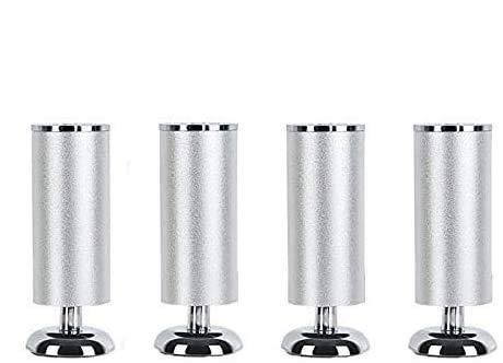 4 patas de aluminio plateado para muebles, muebles modernos de 4.5 pies de repuesto para patas de muebles, protectores de suelo para armarios, mesas, armarios, estantes