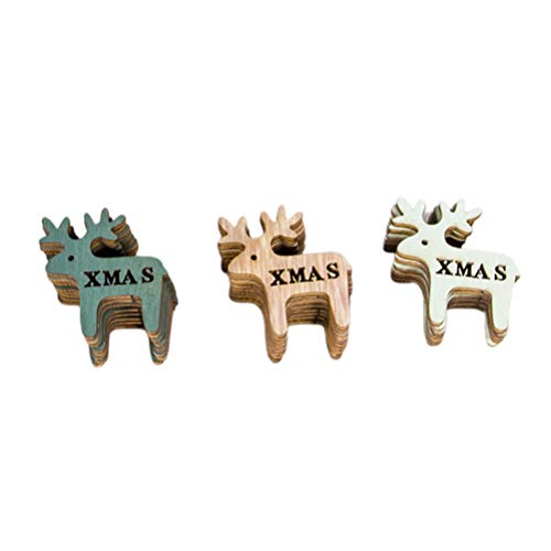 Amosfun 24pcs Wooden Christmas Reindeer Cutouts Craft Wood Shapes Pieces Christmas Tree Decorations Christmas Gifts Tags Christmas Holiday Party Favors