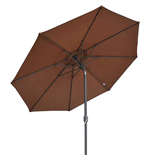 MLTYQ 10ft Outdoor Patio Umbrella w/Tilt Adjustment, Fade-Resistant Fabric, Garden Yard Table Umbrella with 8 Ribs - Brown (Color : Brown-2, Size : 10ft/3m)