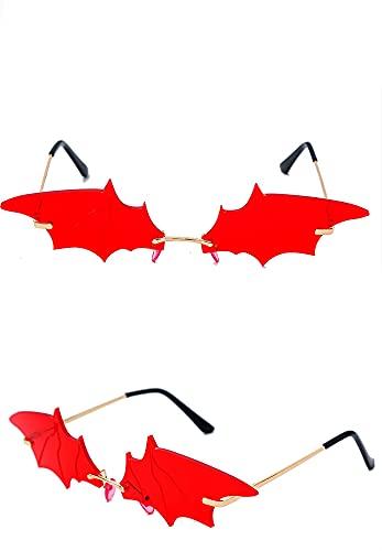 ASZX Gafas de Sol Frescas de la decoración de murciélagos de murciélagos pequeños Gafas de sombrilla Personalidad Personalidad 622 (Frame Color : Gold, Size : Red)