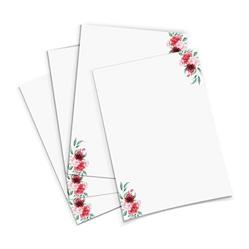 Briefpapier mit Blumenmotiv Version 3 im DIN A4 Format - 50 Blätter einseitig bedruckt in qualitativem 120g/qm Papier - von Sophies Kartenwelt
